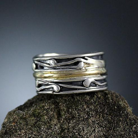 Sterling Silver and Gold Band Ring 4