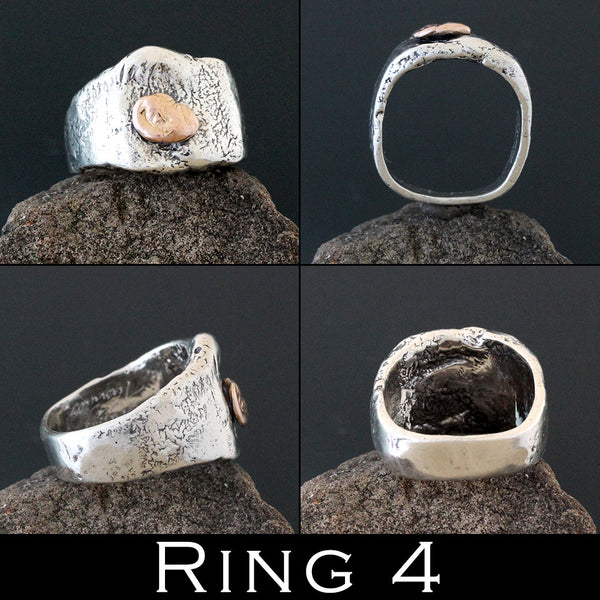 Sterling Silver Abstract Ring with Gold Accents