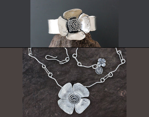 Sterling Silver Dogwood Flower with Beaded Spiral Center Jewelry Set