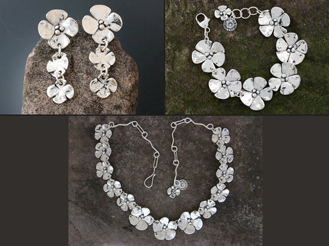 Sterling Silver Dogwood Flower Jewelry Set