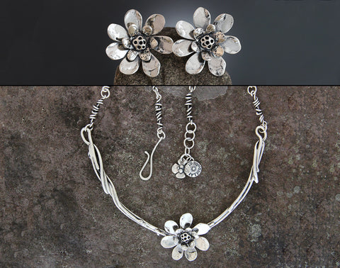 Sterling Silver Lotus Flower Jewelry Set