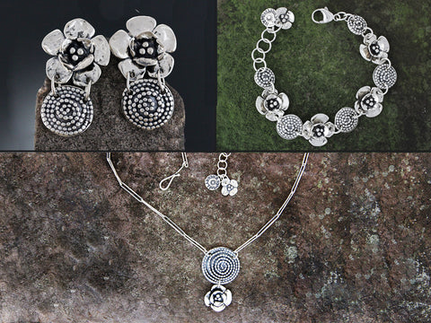Sterling Silver Beaded Spiral & Double Dogwood Flower Jewelry Set