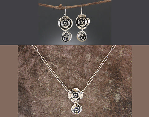 Sterling Silver Rose and Dogwood Jewelry Set