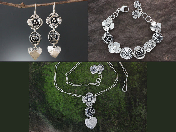 Sterling Silver Flower, Rose & Heart Jewelry Set