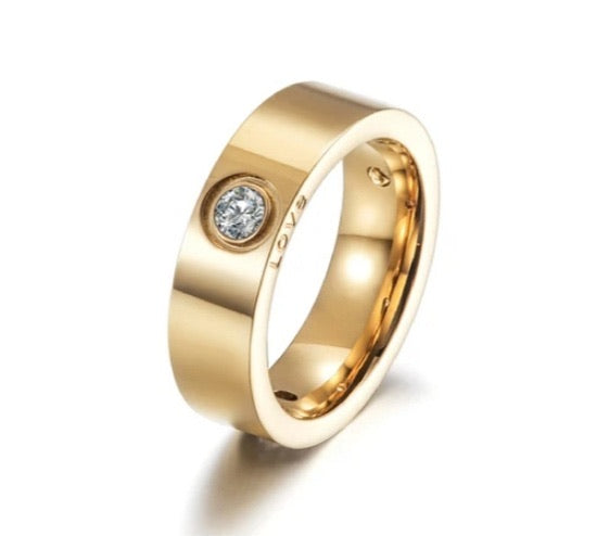 LOVE Engraved CZ Band