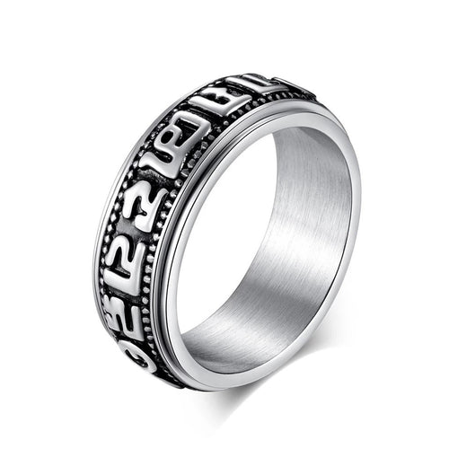 Tibetan Six Word Buddha Mantra Spinner Ring