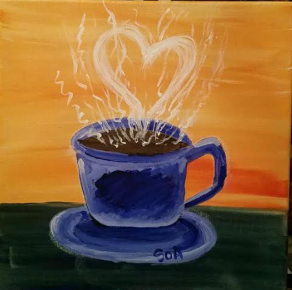 "Friday, May 19, 2017, 7:00""Love of Coffee"" 12x12"