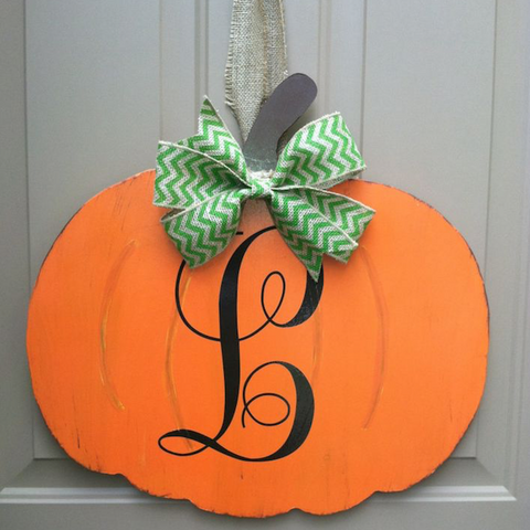 Sunday, Oct. 8 5:30 Wooden Pumpkin Creation Paint Ribbon and Vinyl Monogram Letter