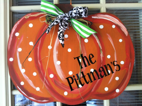 Sunday, Oct. 8  2:00 or 5:00 Wooden Pumpkin Paint Ribbon & Family Name
