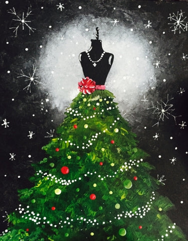 "Saturday, December 15, ""A Mixed MEDIA LED lit Christmas Dress"" 16x20 6:00"