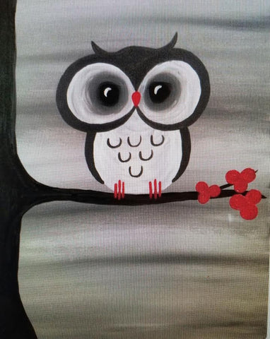 "Tuesday, March 27 6:30 ""Red Blossom Owl"" 12x16"