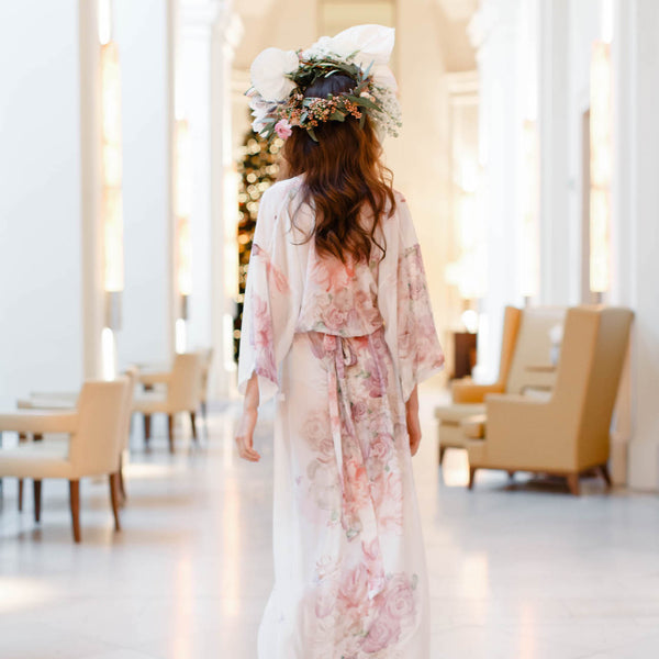 The Valencia Bridal Chiffon Robe in Garden- {domenica_domenica], [bridal robes]