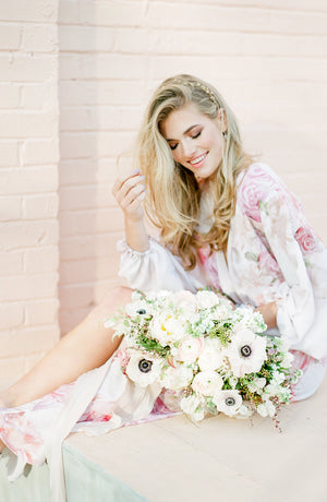 Domenica Domenica Maeve Floral Print Bridal Robe. Printed floral robe for bridesmaids. Bridesmaids robe. Getting ready robe. Floral dressing gown. Wedding robe.
