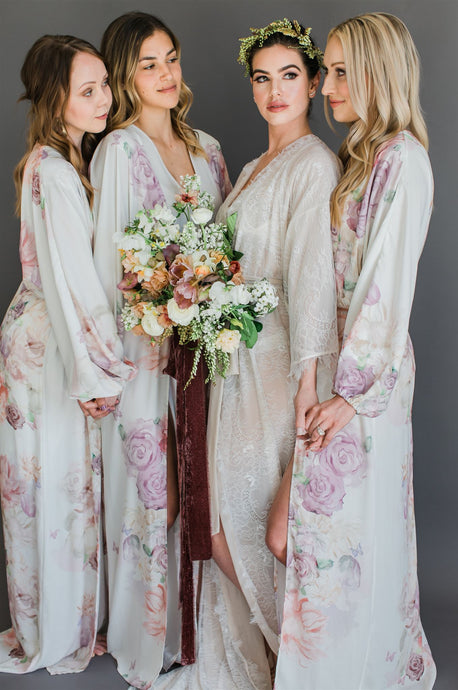 Maeve Double Side Slit Robe in Garden- {domenica_domenica], [bridal robes]
