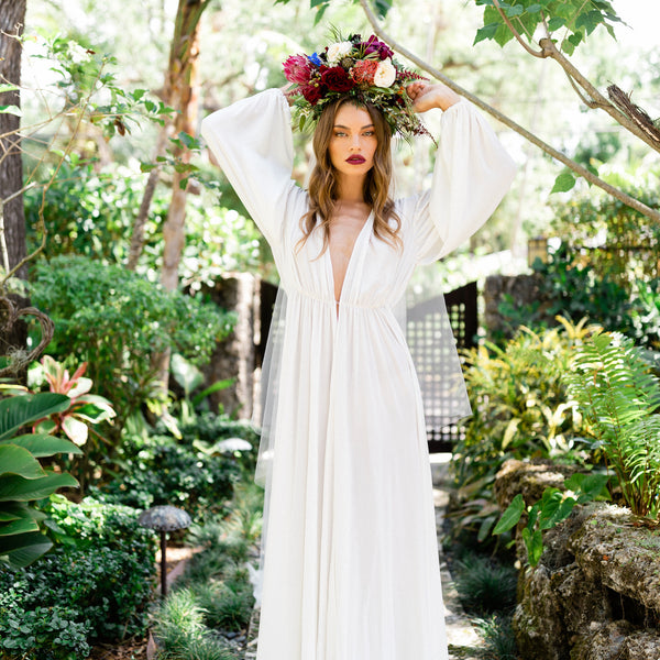 Annabella Bridal Robe in Snow - Domenica Domenica