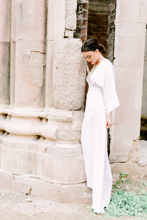 Victoria Bridal Robe Gown in Snow - Domenica Domenica