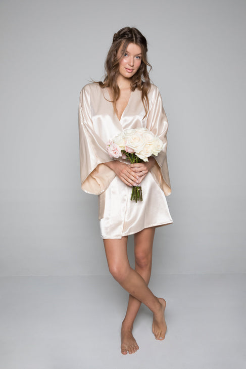 Theodora Classic Short Robe in Sand - Domenica Domenica