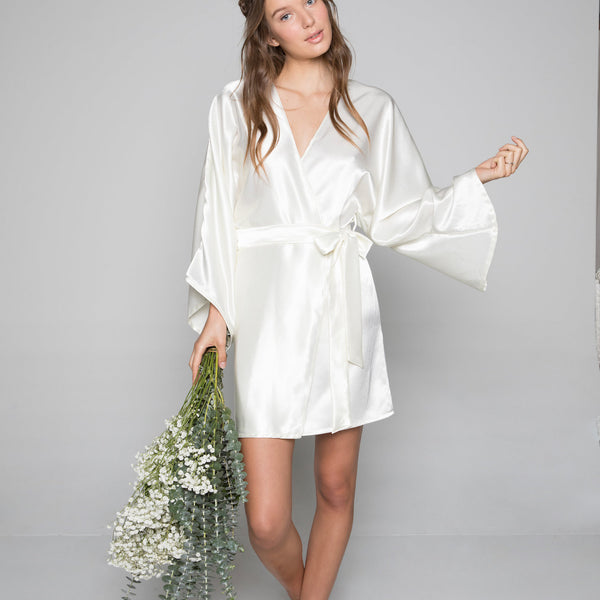 Theodora Classic Short Robe in Ivory- {domenica_domenica], [bridal robes]
