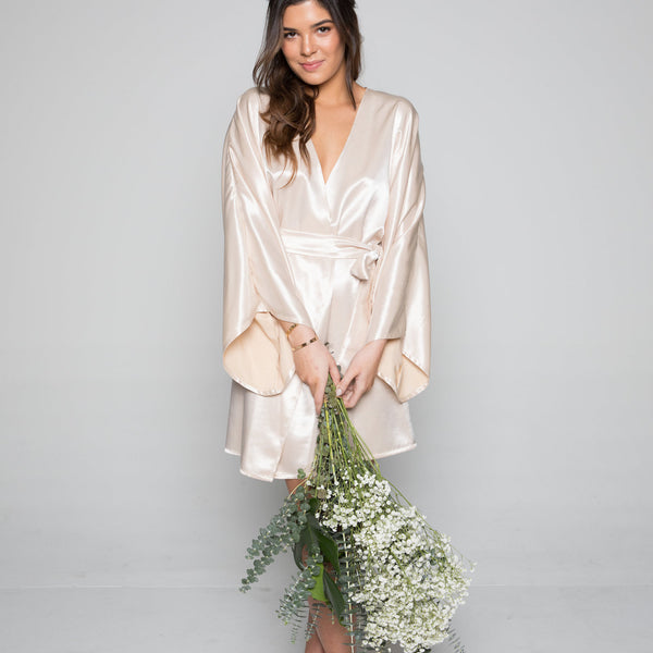 Theodora Classic Short Robe in Sand- {domenica_domenica], [bridal robes]
