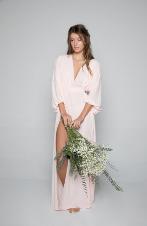 Maeve Double Side Slit Robe in Peony - Domenica Domenica