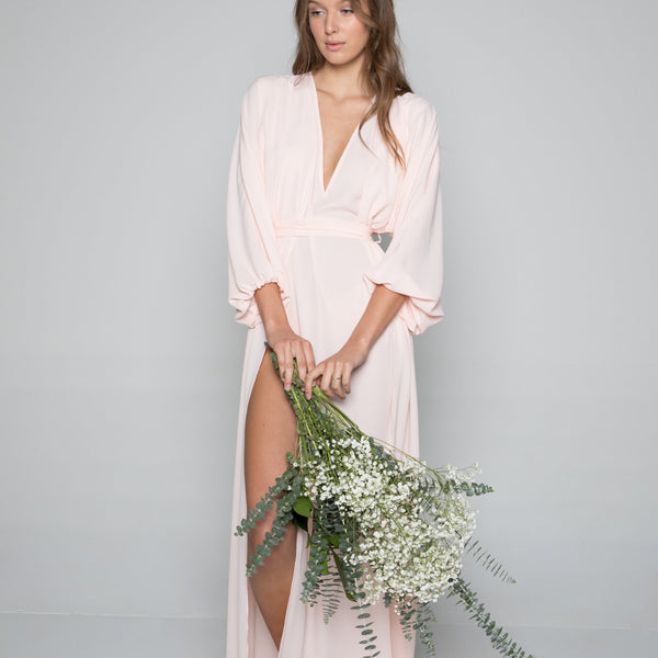 Maeve Double Side Slit Robe in Peony