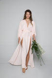 Maeve Double Side Slit Robe in Peony- {domenica_domenica], [bridal robes]