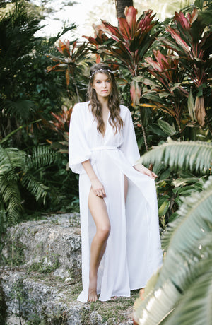 Maeve Double Side Slit Robe in Snow