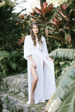 Maeve Double Side Slit Robe in Snow - Domenica Domenica