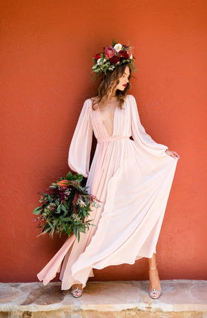 Domenica Domenica Multi Color Chiffon bridal robe. Blush bridal robe. Bridal dressing gown. multi color chiffon robe. paneled chiffon robe. ombre blush robe. ombre blush dress.