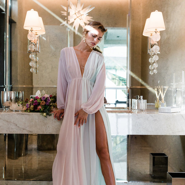 Sydney Bridal Robe in Multi Chiffon- {domenica_domenica], [bridal robes]