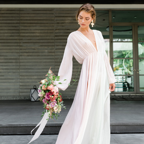 Sydney Bridal Robe in Multi Chiffon - Domenica Domenica
