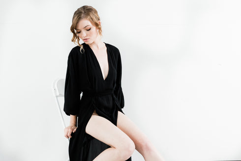 Maeve Double Side Slit Robe in Noir- {domenica_domenica], [bridal robes]