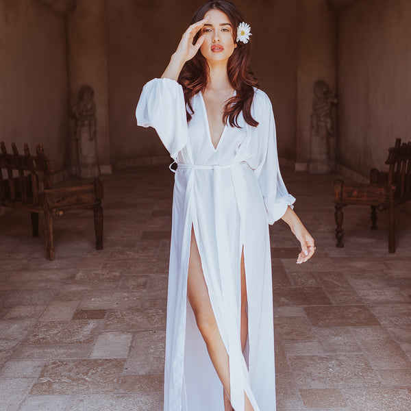 Maeve Double Side Slit Robe in Snow- {domenica_domenica], [bridal robes]