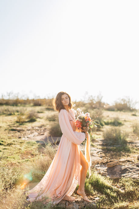 Sydney Bridal Robe in Dusty Rose- {domenica_domenica], [bridal robes]
