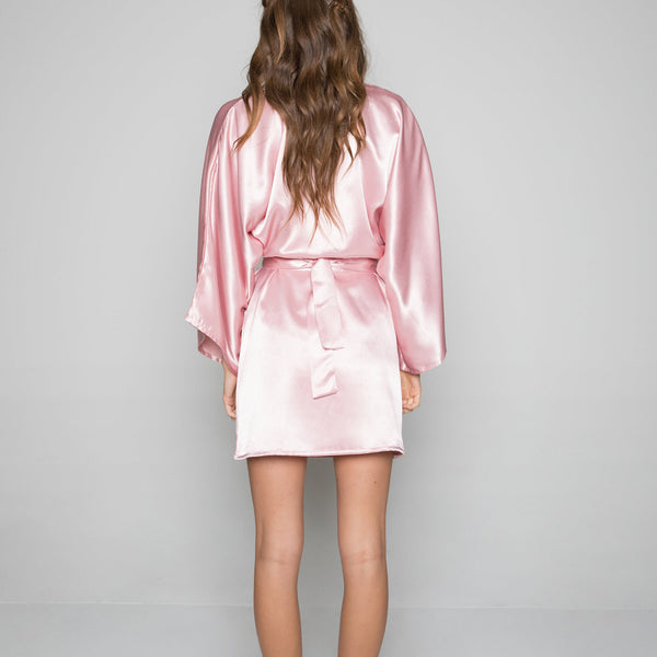 Theodora Classic Short Robe in Rose- {domenica_domenica], [bridal robes]