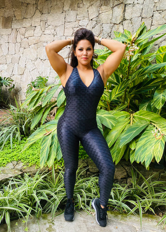 Luna jumpsuit fruncido black shiny