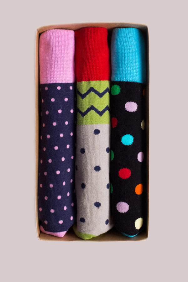 Printed Socks 3-Pack Polka Dot Assortment