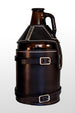 Black leather beer growler carrier. Perfect holder, hand crafted and ready to strap to a bicycle for easy transportation.