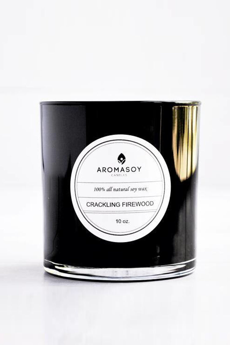 Aromatherapy soy candle in crackling firewood. Perfect scent of pine and sandalwood to warm the winter nights. Handcrafted. All natural soy based container candle.