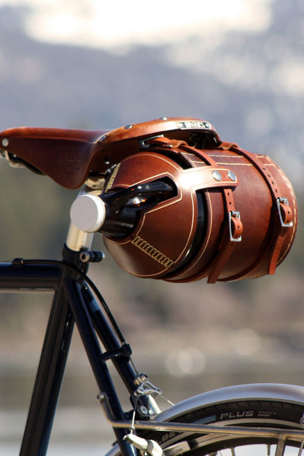 Bicycle Mounted Leather Glass Growler Carrier
