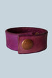 Back view of leather cuff bracelet. Snap closure.