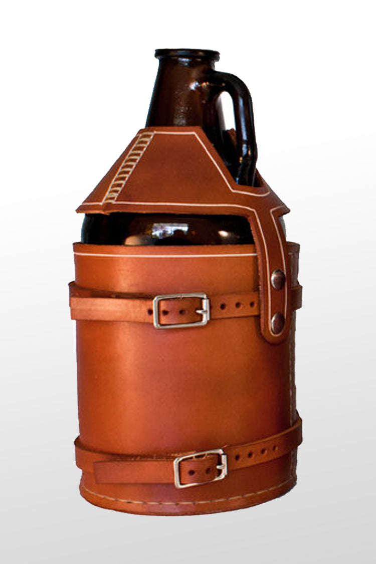 Handmade leather beer growler carrier. Mounted to bicycle. Perfect beer holster for fathers day. Great holiday gift for men.