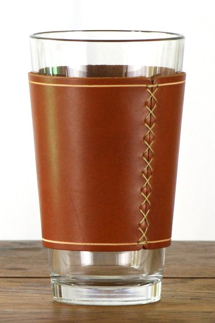 Pint Glass with Leather Sleeve