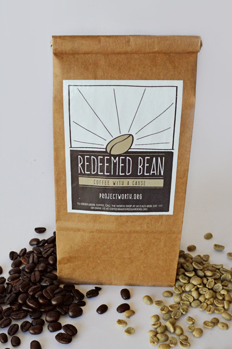 Bag of hand roasted coffee from Watered Gardens Redeemed Bean