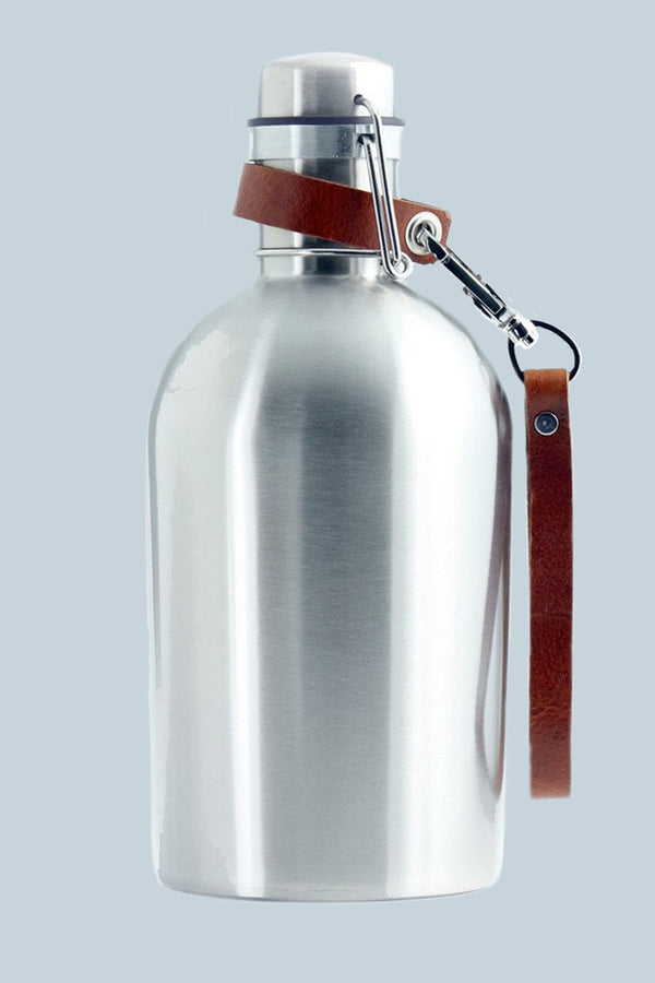 Stainless Steel Growler® with Leather Clip on Strap