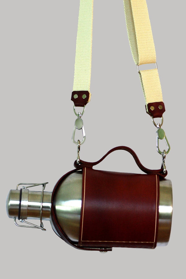 Leather Carrier with Stainless Steel Growler