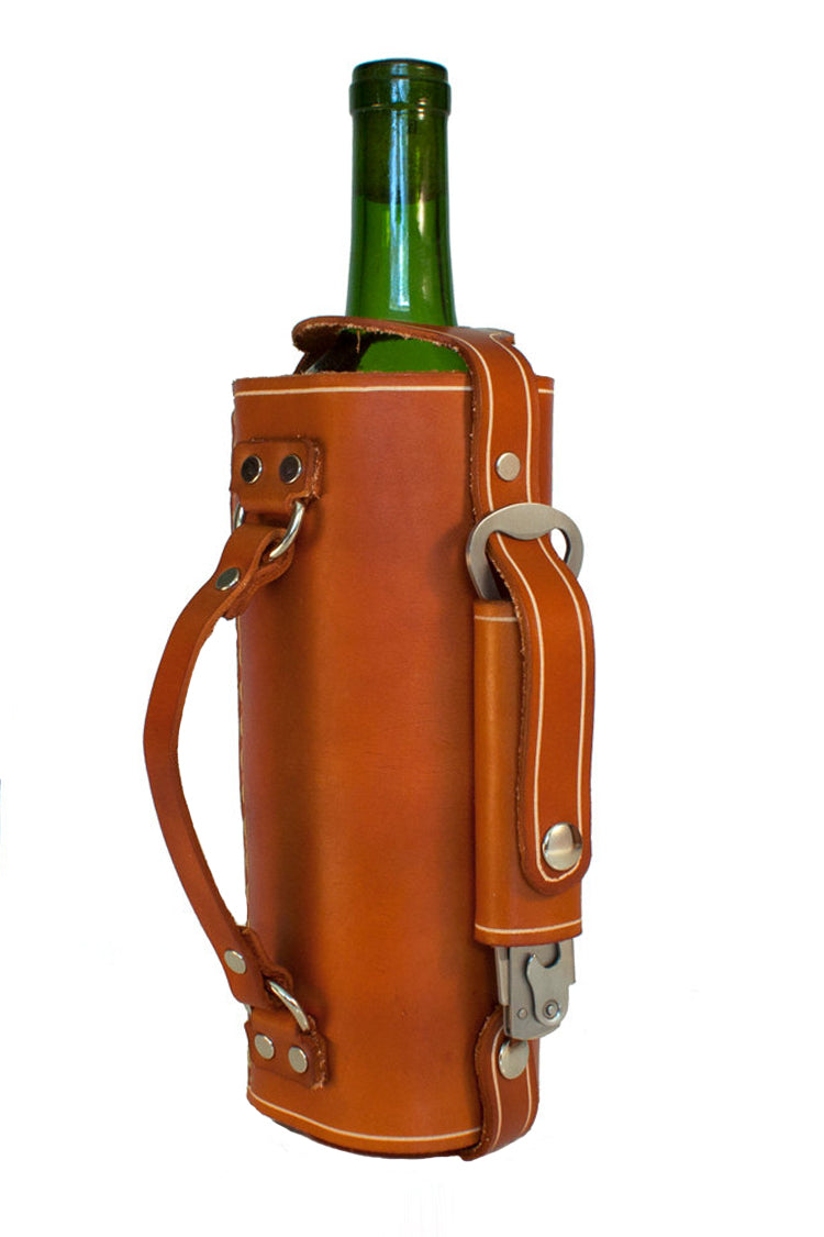 Leather wine carrier with stainless steel opener attached. Handcrafted wine tote perfect for any wine lover.
