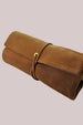 Handcrafted genuine leather watch roll in brown holds up to five watches for safe travel and storage. Handcrafted by Amish artisans in Pennsylvania. All leather is locally sourced.