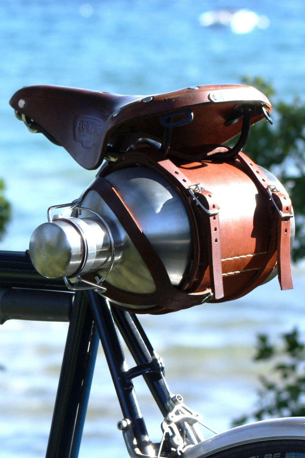 Bicycle Mounted Leather Carrier with Stainless Steel Growler