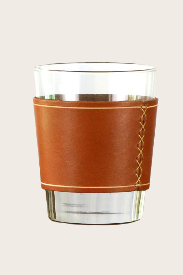 Whiskey Glass with Leather Sleeve